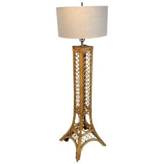 Vintage Eiffel Tower Rattan Floor Lamp For Sale