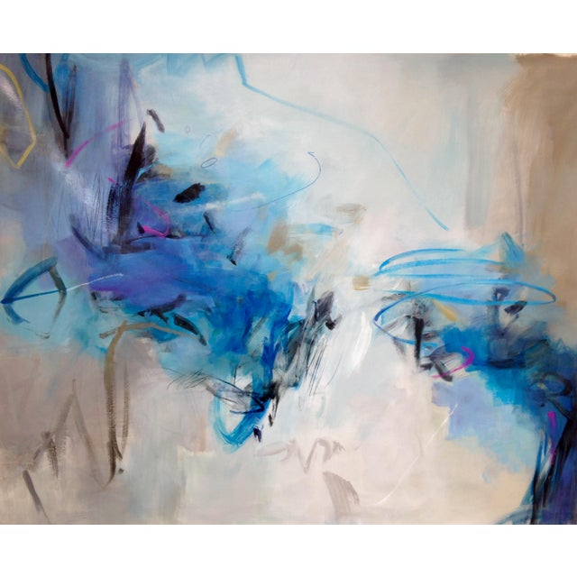 "Sally Cooper Cooper Acrylic Painting ""Beyond the Blue"" Contemporary Large Blue Abstract For Sale - Image 4 of 4"