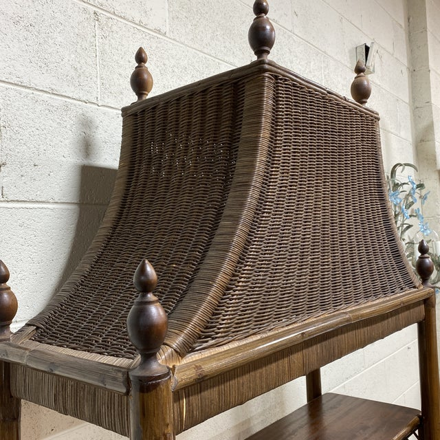 Brown Walnut and Wicker Pagoda Etageres Cabinet For Sale - Image 8 of 13