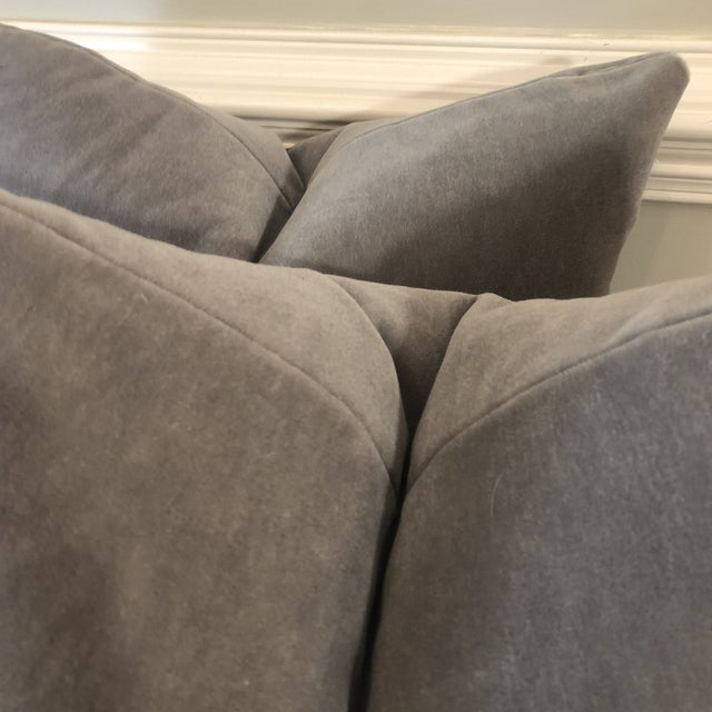 "Traditional Gray Mohair 22"" Pillows-A Pair For Sale - Image 3 of 6"