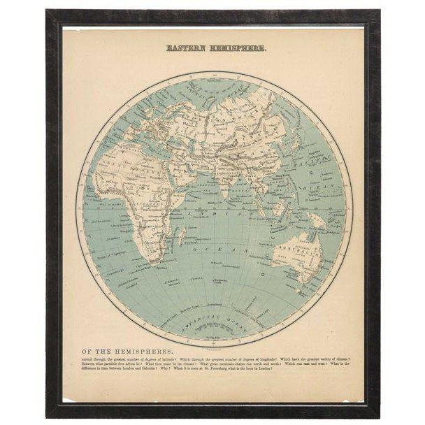 Presenting an Eastern hemisphere map framed in a pewter shadowbox