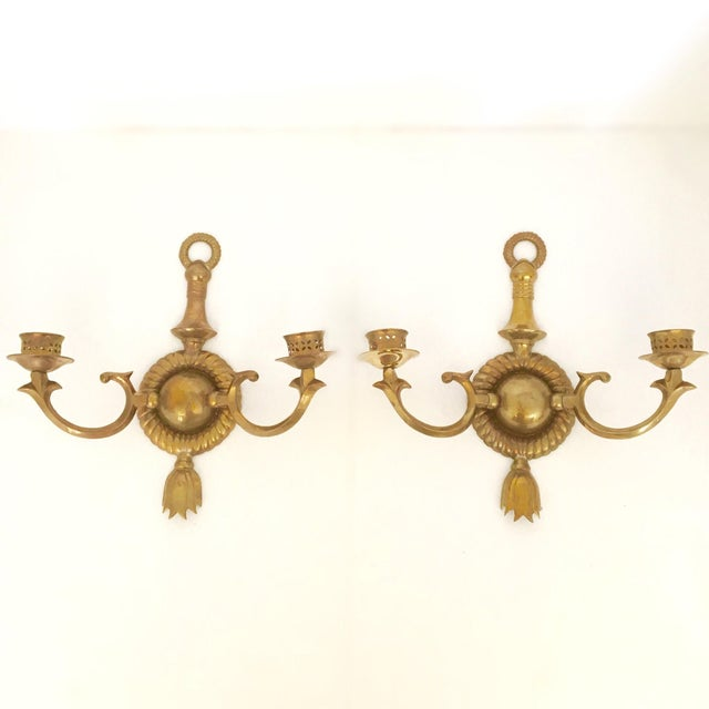 Brass Two Arm Sconces- Pair - Image 2 of 9