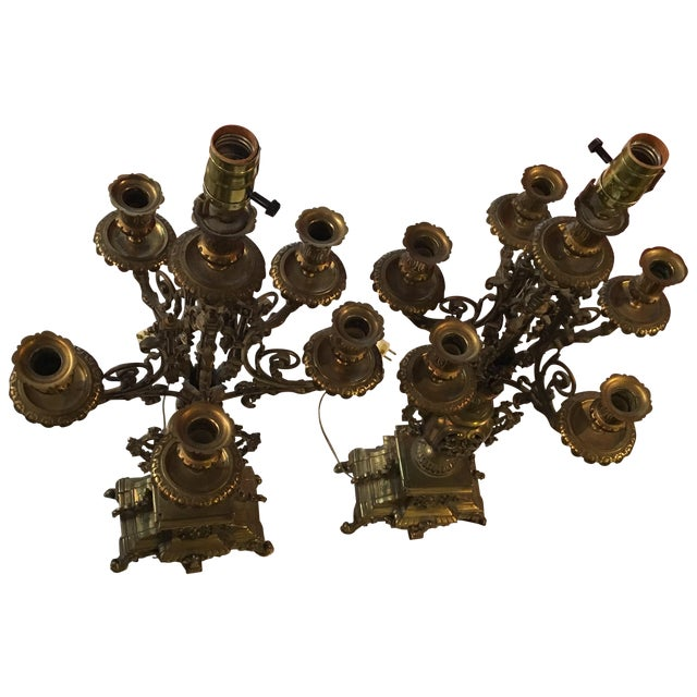 French Bronze Candelabra Lamps - Pair - Image 1 of 7
