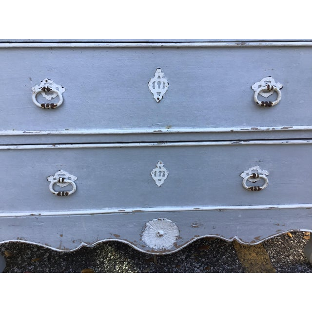Blue Antique French Provincial Painted Chest For Sale - Image 8 of 11