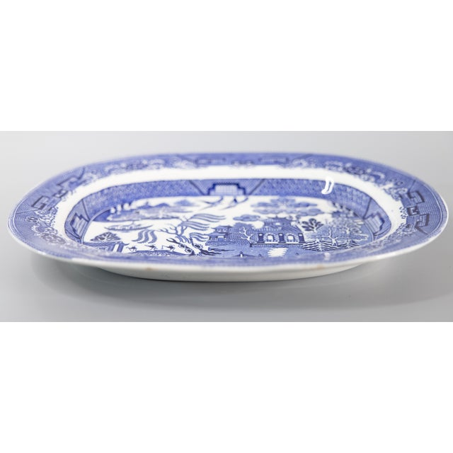 Chinoiserie Antique English Staffordshire Blue Willow Platter For Sale - Image 3 of 5