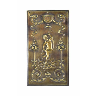 Vintage Bronzed Iron Plaque Dancing Cherub or Putti W Dragons Fruit Trees Preview