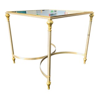 Mid Century Brass and Brushed Steel Side Table in the Manner of Maison Jansen. For Sale