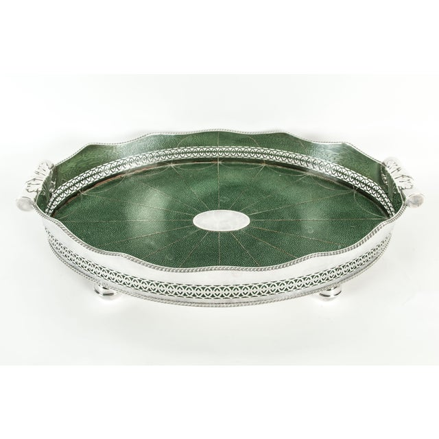 English Plated Shagreen Interior High Border Gallery Tray For Sale - Image 10 of 10