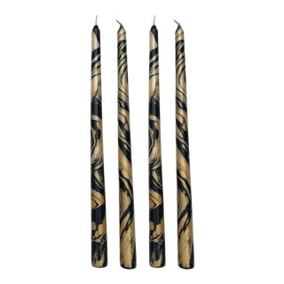 """Gold and Black 14"""" Marbleized Taper Candles, Set of 8 For Sale"""