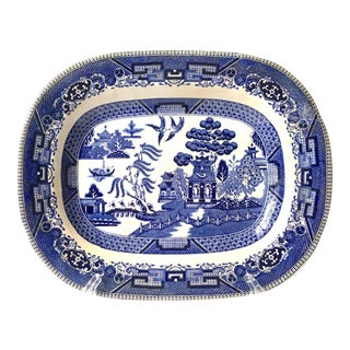 1910s American Classical Blue Willow Ironstone Platter For Sale