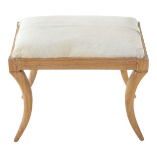 Cerused Oak and White Pony Hide Ottoman, in the Style of Jean-Michel Frank For Sale