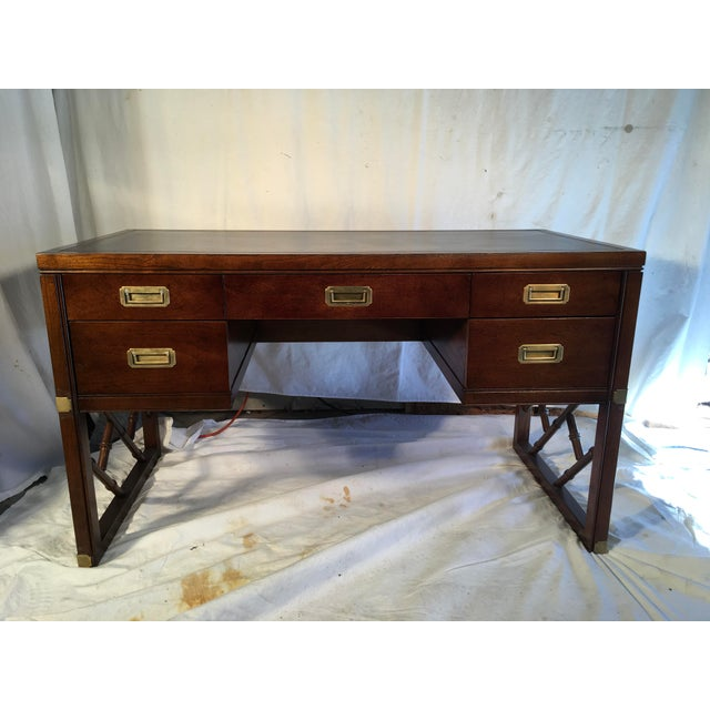 Sligh Furniture Campaign Style Desk For Sale - Image 9 of 9