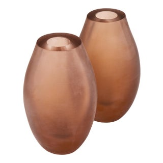 Frosted Pink Murano Glass Vases - a Pair For Sale