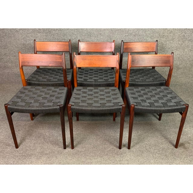 Set of Six Vintage Mid Century Danish Modern Rosewood Dining Chairs Model #418 by Arne Vodder for Sibast For Sale In San Diego - Image 6 of 12