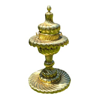 Large Turkish Spiral Brass Brazier For Sale