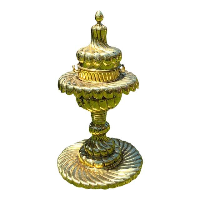 Large Turkish Spiral Brass Brazier For Sale