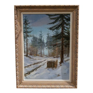 "Einar Evelyn Thorbjorn ""Rold Skov"" Original Oil on Canvas Painting Framed For Sale"