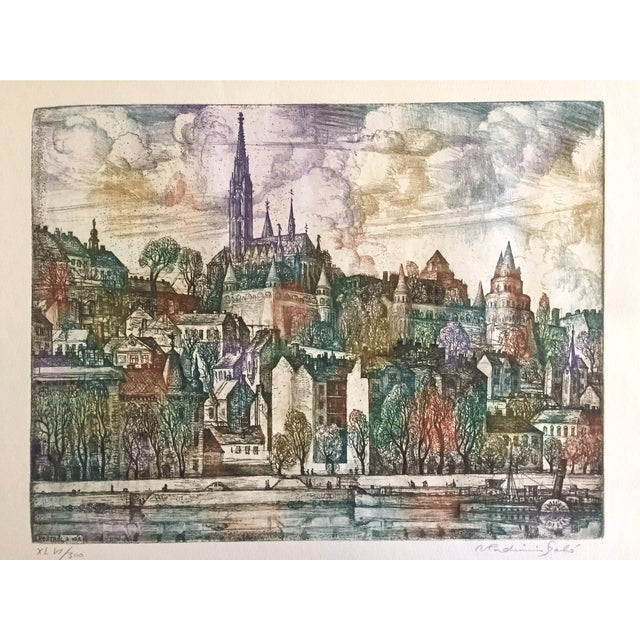 """Original color etching """"Castle Hill Budapest"""" by Vladimir Szabó (1905–1991), signed lower right. Szabó attended the..."""