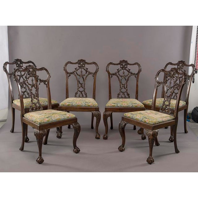 Set 8 19th C Hand Carved Chippendale Tassel Back Dining Chairs For Sale - Image 12 of 13