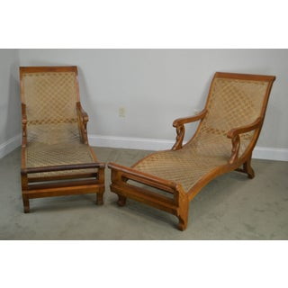 Anglo Indian Antique British Colonial Pair Caned Recamiers Chaise Lounges Preview
