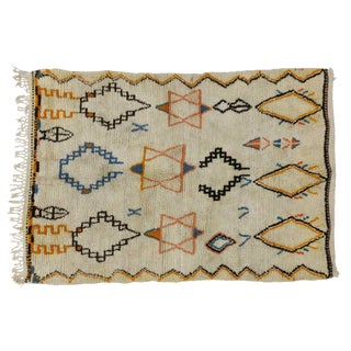 """Vintage Berber Moroccan Rug with Judaic Influence - 4'7"""" x 6'3"""" For Sale"""