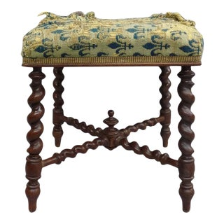 French 1940s Barley Twist Bench in the Style of Louis XIII For Sale