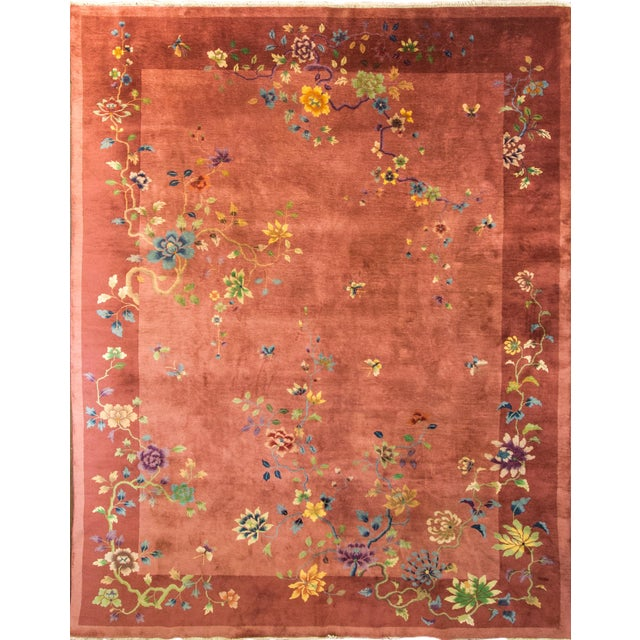 """Antique Art Deco Chinese Oriental Rug-8'8""""' X 11'3"""" For Sale"""