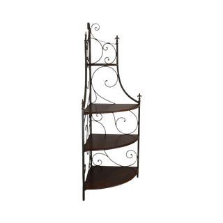 Drexel Heritage Wrought Iron & Cherry French Country Bakers Rack For Sale