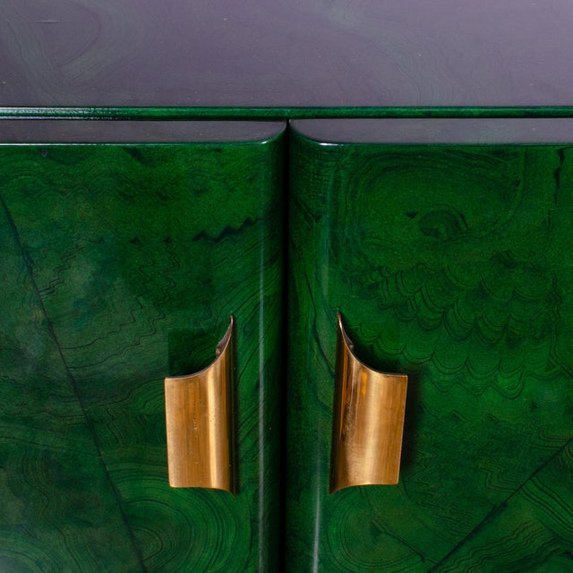 1970s Italian Malachite Lacquer Sideboard For Sale In Savannah - Image 6 of 12