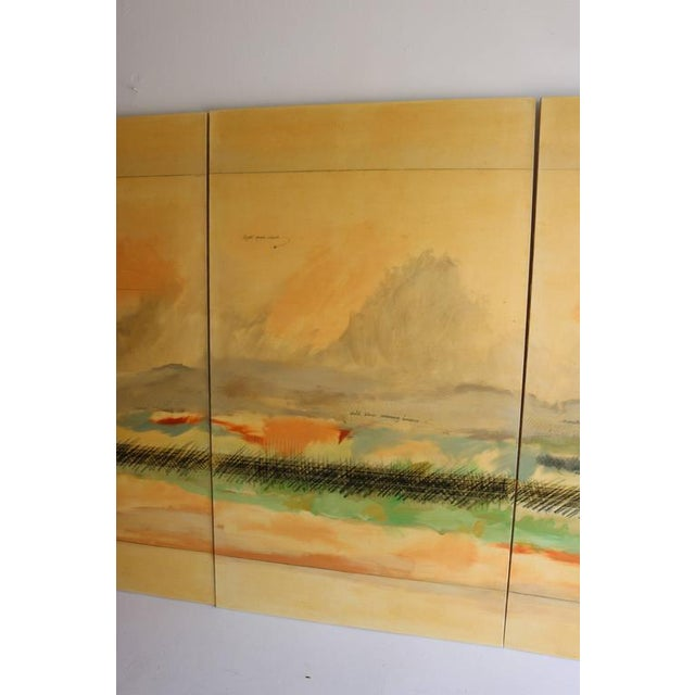 Large Scale Oil on Canvas Impressionist Landscape Triptic by Robert Savoie For Sale - Image 4 of 11