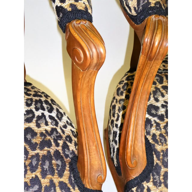 Animal Skin Lovely Pair of Louis XV Style Fauteuils or Chauffeuses by Saridis in Leopard Chenille, 1960s For Sale - Image 7 of 13