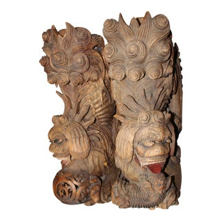 Carved Wood Foo Dog Wall Brackets - A Pair