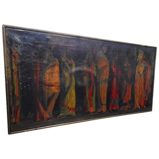 """Robert Whitmore """"Indian Procession"""" Oil Painting Early 20th Century For Sale"""