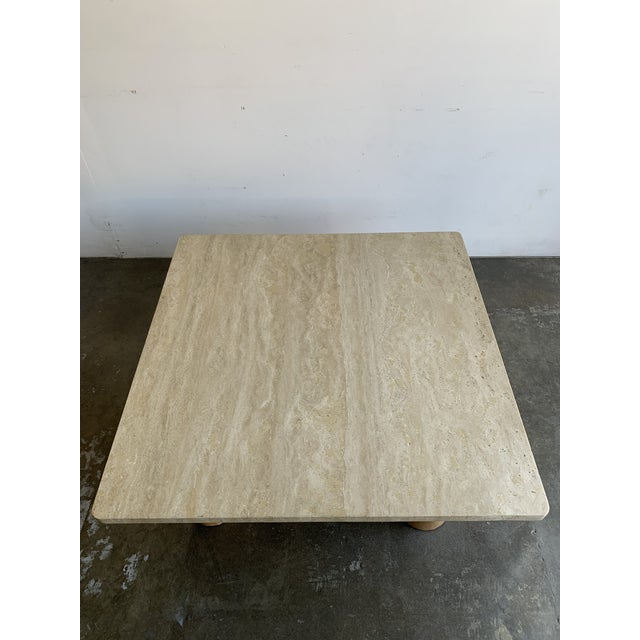 Mid-Century Modern Rounded Edge Square Travertine Coffee Table For Sale - Image 3 of 13