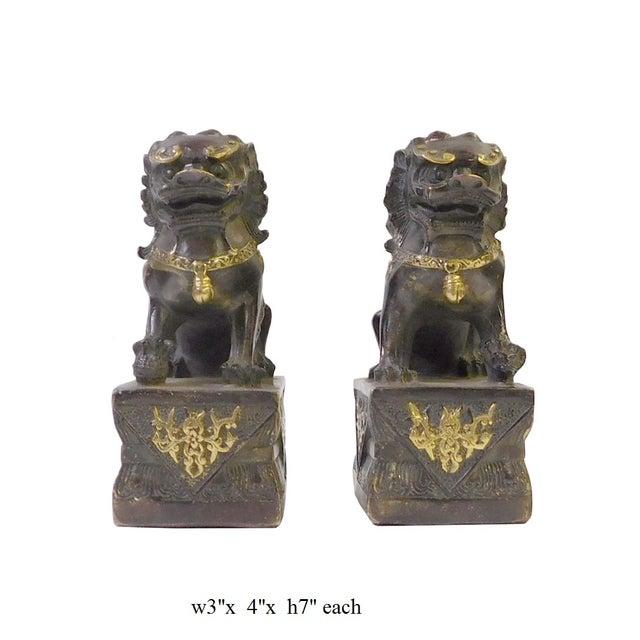 Brown Bronze Golden Fengshui Foo Dogs - Pair - Image 6 of 6