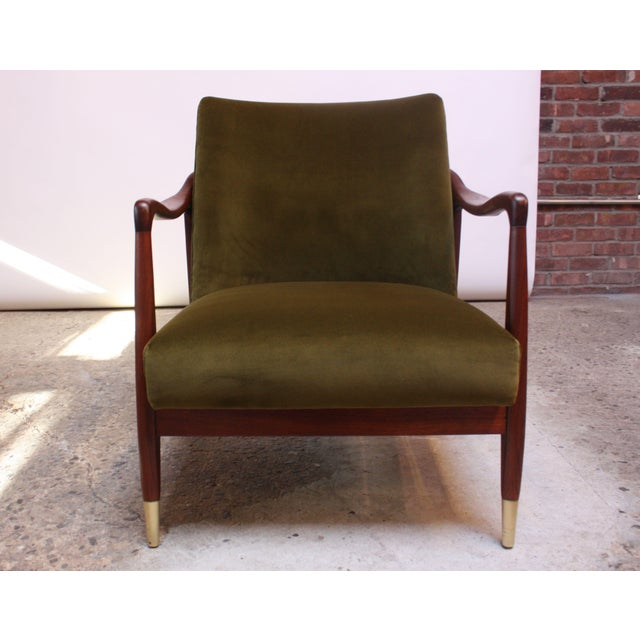 1950s Mid-Century Italian Modern Sculpted Walnut and Velvet Lounge Chair For Sale - Image 5 of 13
