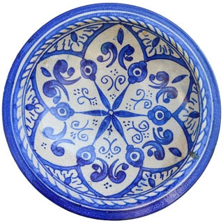 Blue Arabesque Ceramic Wall Plate For Sale