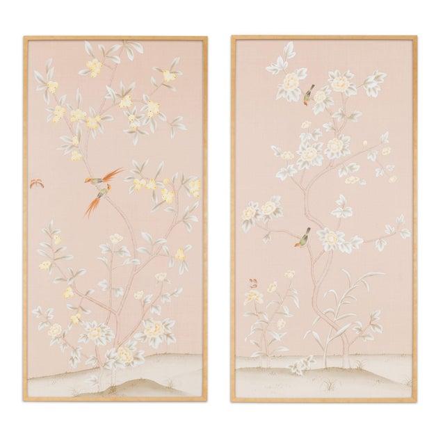 "Jardins en Fleur ""Pavenham Court"" Chinoiserie Hand-Painted Silk Diptych by Simon Paul Scott – 2 Pieces For Sale - Image 10 of 10"