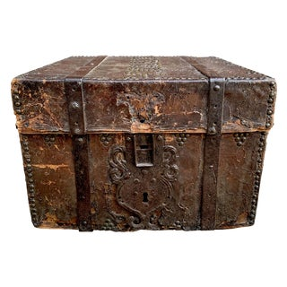 17th Century Italian Leather Lock Box For Sale
