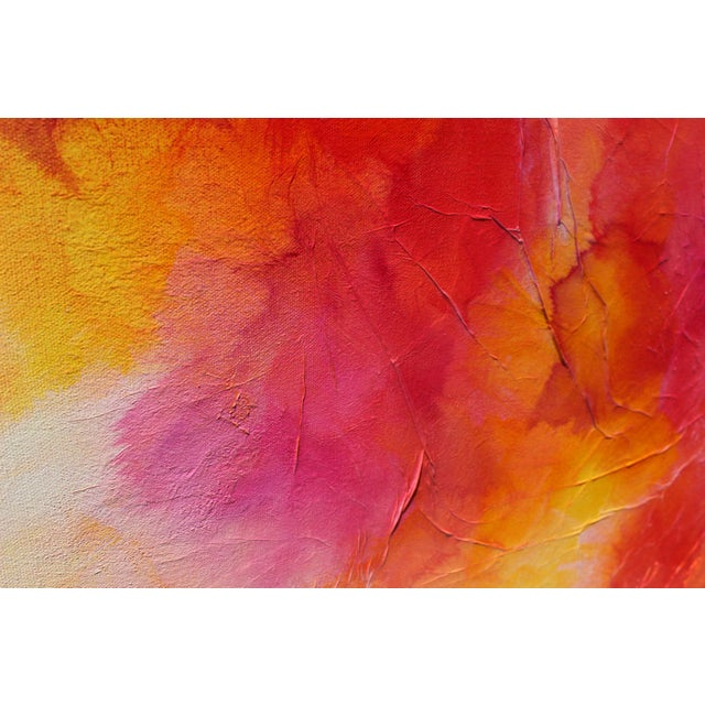 Colorful Bright Expressive Modern Abstract Original Wall Art Painting Red Pink Yellow Canvas For Sale - Image 4 of 5