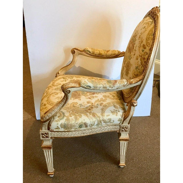 Mid 20th Century Pair of Louis XVI Style Carved Giltwood Bergère Chairs With Scalamandre Fabric For Sale - Image 5 of 13