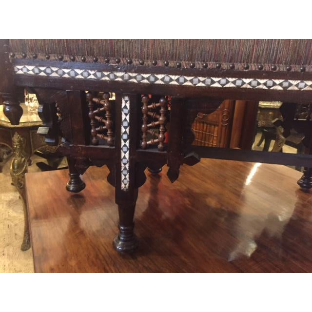 Vintage Moroccan Inlaid Bone Handled Bench For Sale - Image 4 of 11