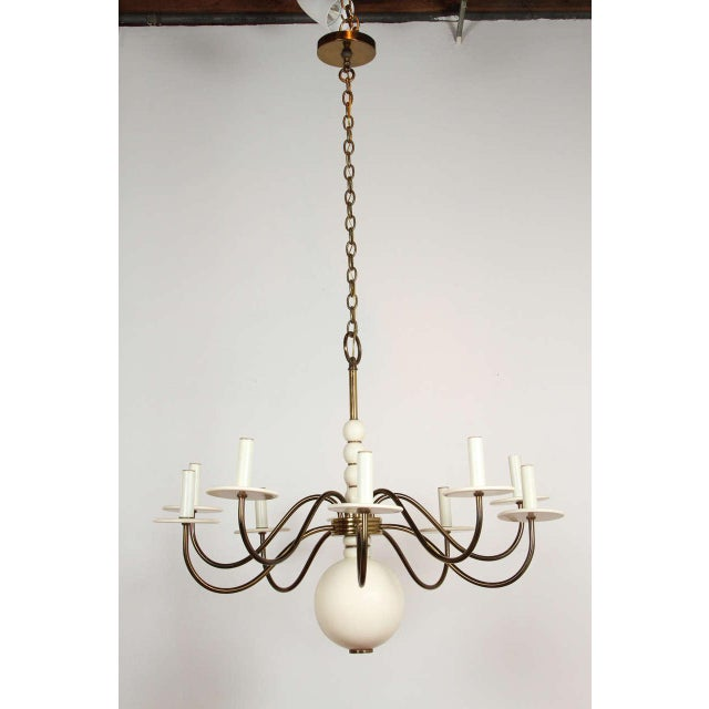 1960s Wood and Brass Chandelier For Sale - Image 9 of 9