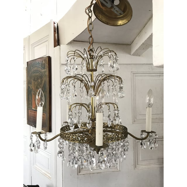 Russian Baltic Crystal Layered Polished Brass Waterfall Chandelier For Sale - Image 11 of 11