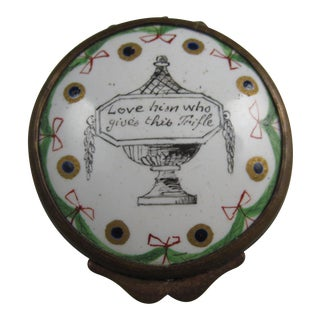 18th Century Georgian English Hourglass Bilston Enamel Motto Snuff Box, Lover's Trifle