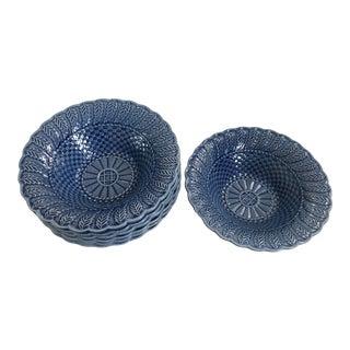 Bordallo Pinheira Blue Basketweave Bowls - 5 Available For Sale