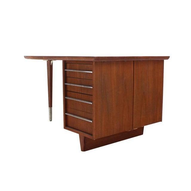 Unusual Oval Shape Walnut Partners Extra Deep Desk Long Metal Stip Shape Pulls For Sale In New York - Image 6 of 9