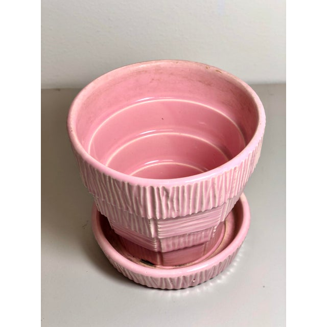 """McCoy Pottery 1940s - 1960s """"Pink"""" Mid Century Flower Pot And Attached Saucer Bark Basket Weave Design, Small, Pink glaze..."""