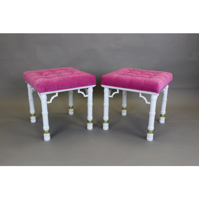 Mid Century Faux Bamboo Benches, A Pair - Image 4 of 11