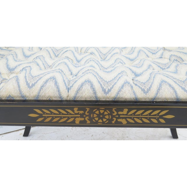 Regency Black Lacquer Tufted Bench - Image 4 of 5